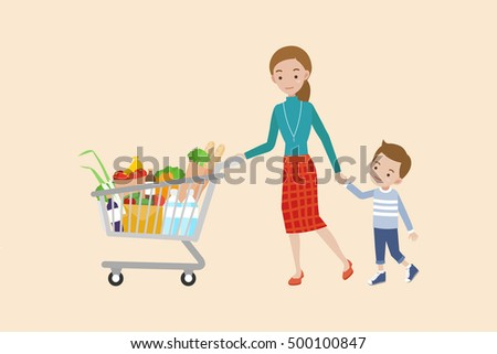 Mom pushing a shopping cart full of groceries with son.