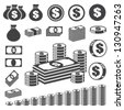 Money and coin icon set.Illustration eps10 - stock photo