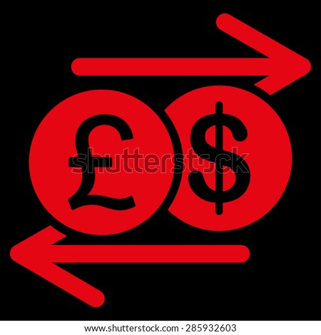 Money Exchange icon from Business Bicolor Set. This flat vector symbol uses red color, rounded angles, and isolated on a black background.