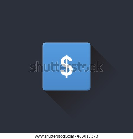 money icon or button in flat style with long shadow, isolated vector illustration on transparent background