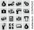 Money icons set - stock vector