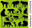 Monkey, ape and chimpanzee detailed silhouettes illustration collection background vector - stock vector