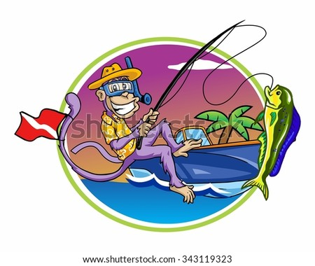 monkey fisherman character illustration logo icon vector