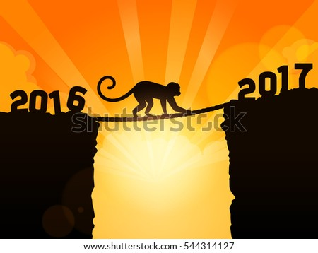 Monkey moving from 2016 to New Year 2017
