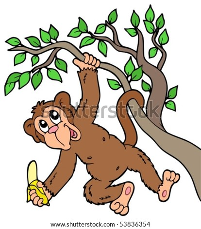 Monkey with banana on tree - vector illustration.
