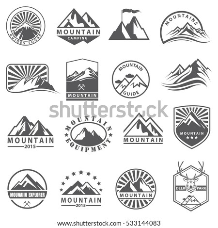 monochrome collection of various mountain icons