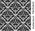 Monochrome damask seamless pattern for background design. Jpeg version also available in gallery - stock photo