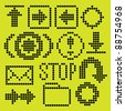 monochrome fluorescent dot-based icon set for control screens and web design. more icons are available - stock photo