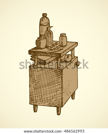 Monochrome freehand ink drawn picture sketchy in retro doodle style pen on paper. Aged infirmary pedestal with preparation remedy, thermometer, water, cup, books and apple isolated on white background
