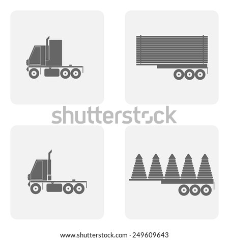 monochrome icon set with truck