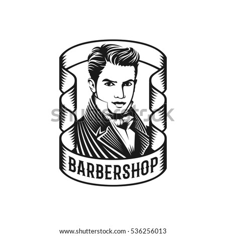 Monochrome illustration of hipster man hairstyle