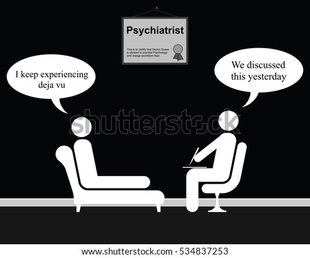 Monochrome on the Psychiatrist couch with Doctor Quack and Deja Vu