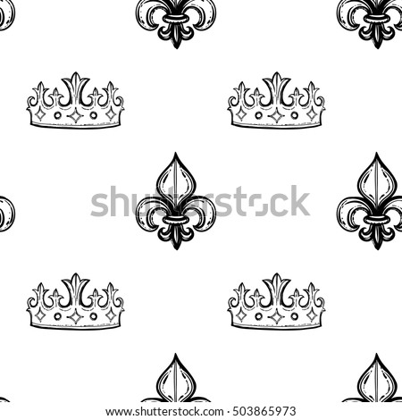 Monochrome seamless pattern with tiara and regal fleur de lys. Royal signs in style of fashion illustration. Black and white vector background