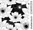 monochrome seamless pattern with water lilies - stock vector