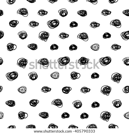 Monochrome seamless vector pattern with hand drawn curls.