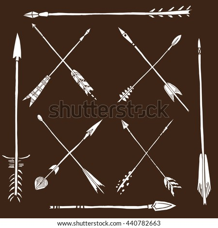 Monochrome tribal set with arrows, hand drawn ethnic collection with arrows for design, rustic decorative arrows, hippie and boho style vector illustration