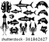 monochrome vector set of silhouettes of different sea products - stock vector