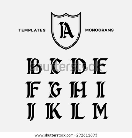 monogram design template with combinations of capital letters ia ib ic id ie if ig ih