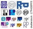 monogram RP Colorful set of two letters in the graphics bundle - stock vector