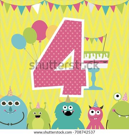 monster birthday party invitation card vector illustration - Monster Birthday Party Invitations