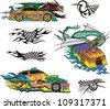 Monsters and racing cars. Set of color and black/white vector illustrations. - stock vector