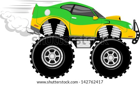 Monstertruck Police Car Cartoon Isolated Stock Vector