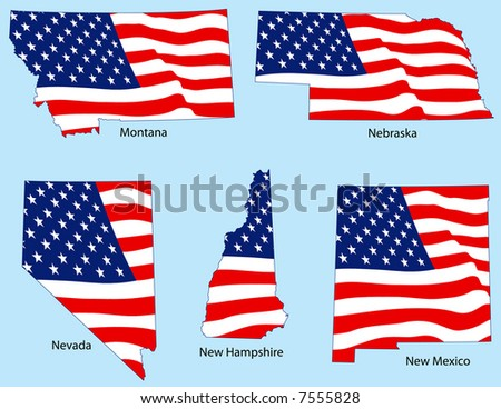 Montana, Nebraska, Nevada, New Hampshire and New Mexico outlines with flags, each individually grouped