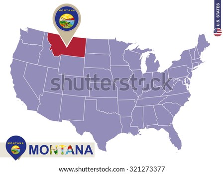 Washington State On Usa Map Washington Stock Vector - Montana on us map