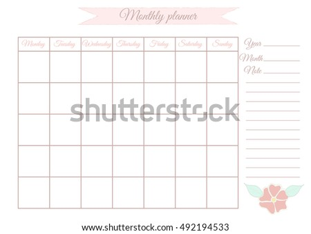 Monthly planner for the month