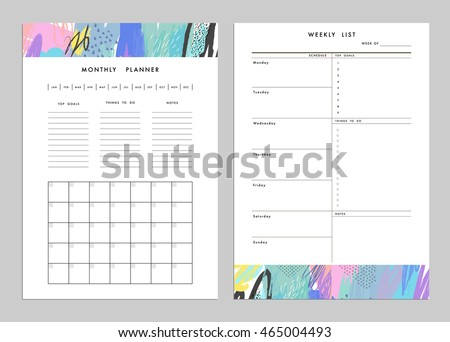 Monthly Planner Plus Weekly List Templates Vector 370822499 – Weekly to Do List Template