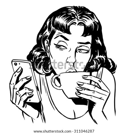Morning girl coffee tea phone news communication technology smartphone line art retro style