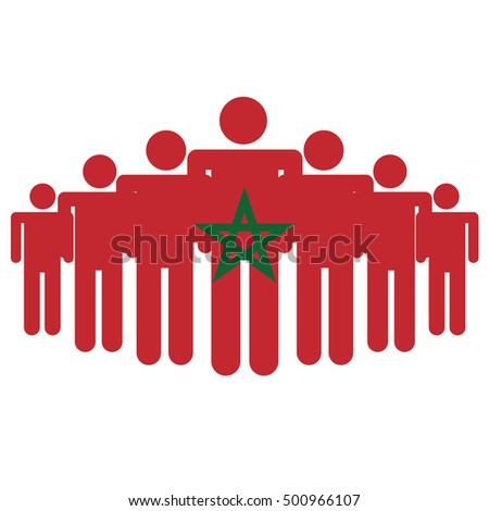 Morocco flag with business people and social community symbol isolated on white