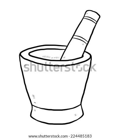 Black Outline Vector Mortar Pestle On Stock Vector 126970958 ...