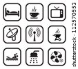 Motel Or Hotel Icons - stock vector