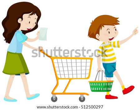 Mother and son shopping illustration