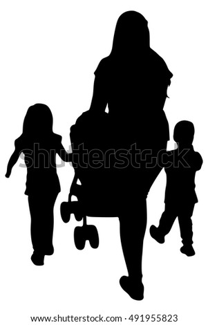 mother with kids, vector