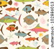 Motley stylized hand drawn cartoon fishes  vector seamless pattern - stock photo