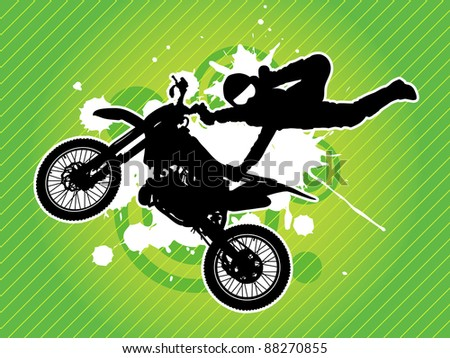 Motorcycle and the rider silhouette on the grunge green background