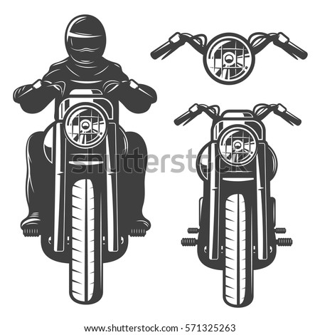 Motorcycle Front View Vintage Helmet Stock Vector ...