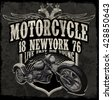 Motorcycle typography vintage motor t-shirt graphics vectors - stock vector