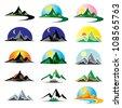 Mountain icon set - stock vector