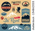 Mountain icons set. Mountain climbing. Climber. Ski Resort labels collection. - stock