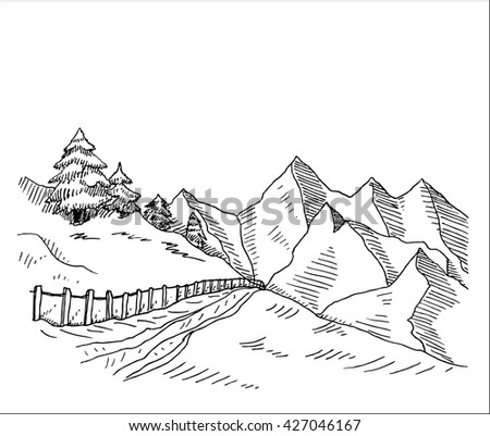 Mountain peaks with trail and fence hand drawn sketch vector illustration