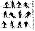 Mountain skier  man speeding down slope. Vector sport silhouette. - stock vector