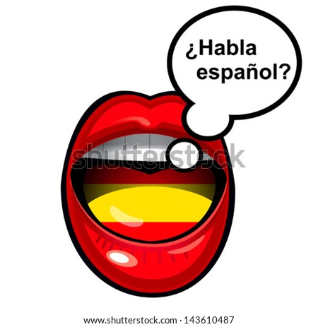mouth speaking in spanish with bubble - stock vector