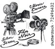 movie camera-original hand drawn collection - stock vector