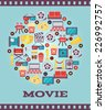 Movie Graphic Icons on Light Blue Background. A Simple I Love Movie Concept Graphic Design. - stock vector