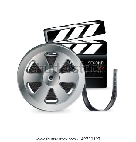 movie reel and clapper isolated on white background