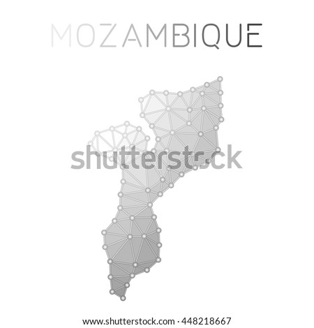Mozambique polygonal vector map. Molecular structure country map design. Network connections polygonal Mozambique map in geometric style for your infographics.