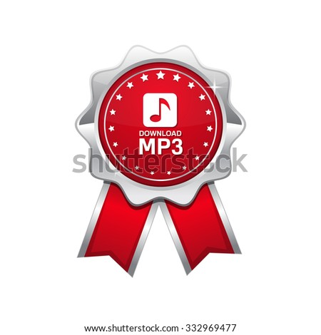 MP3 Download Red Vector Icon Design